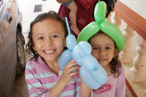 Zahidah and Munirah with balloon doggy and balloon helmet